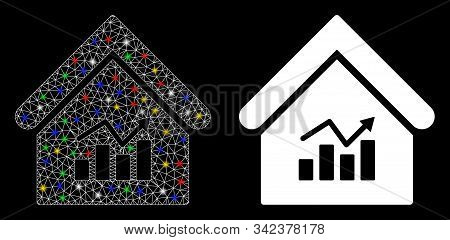 Glowing Mesh Realty Charts Icon With Glitter Effect. Abstract Illuminated Model Of Realty Charts. Sh