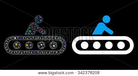 Glossy Mesh Passenger Conveyor Icon With Glare Effect. Abstract Illuminated Model Of Passenger Conve
