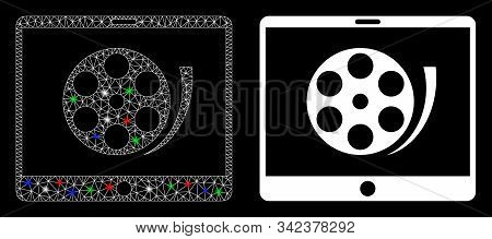 Glowing Mesh Phone Video Reel Icon With Glow Effect. Abstract Illuminated Model Of Phone Video Reel.