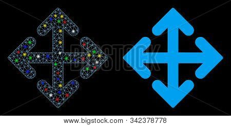 Bright Mesh Direction Variants Icon With Glitter Effect. Abstract Illuminated Model Of Direction Var