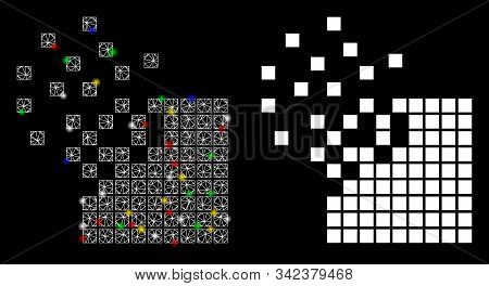Glossy Mesh Dissolving Pixel Mosaic Icon With Glow Effect. Abstract Illuminated Model Of Dissolving