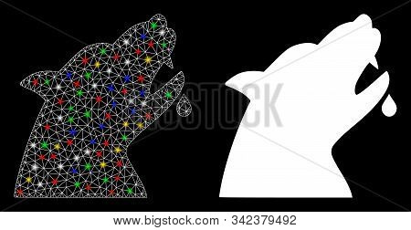 Glossy Mesh Werewolf Icon With Sparkle Effect. Abstract Illuminated Model Of Werewolf. Shiny Wire Ca