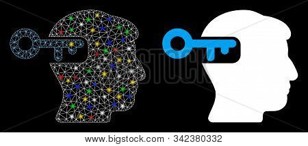 Glossy Mesh Intellect Key Icon With Sparkle Effect. Abstract Illuminated Model Of Intellect Key. Shi