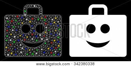 Glossy Mesh Glad Case Icon With Glare Effect. Abstract Illuminated Model Of Glad Case. Shiny Wire Ca