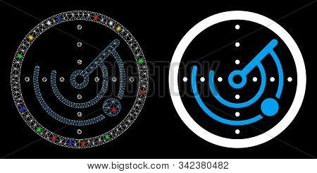 Bright Mesh Round Radar Icon With Sparkle Effect. Abstract Illuminated Model Of Round Radar. Shiny W