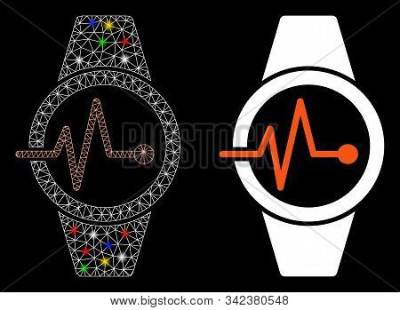 Glowing Mesh Pulse Watches Icon With Glare Effect. Abstract Illuminated Model Of Pulse Watches. Shin