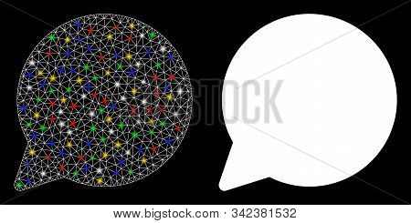 Bright Mesh Hint Balloon Icon With Sparkle Effect. Abstract Illuminated Model Of Hint Balloon. Shiny