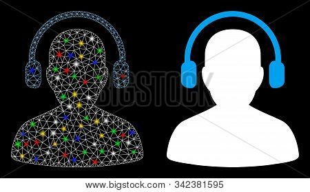 Flare Mesh Listen Operator Icon With Glare Effect. Abstract Illuminated Model Of Listen Operator. Sh