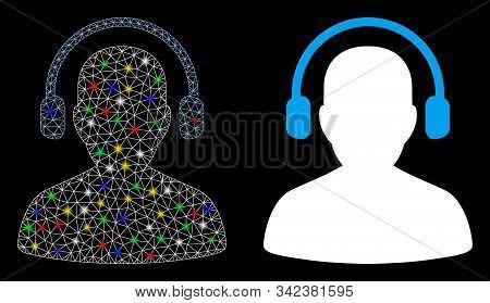 Flare Mesh Listen Operator Icon With Glare Effect. Abstract Illuminated Model Of Listen Operator. Sh