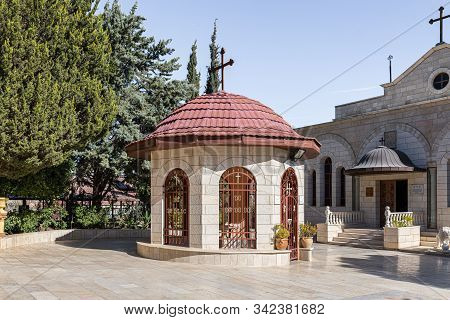 Jerusalem, Israel, December 28, 2018 : Decorative Fountain Fence In The Courtyard Of The Greek Monas
