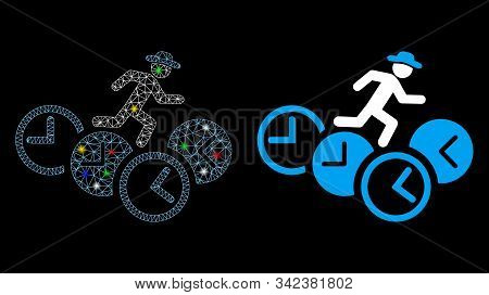 Glossy Mesh Gentleman Running Over Clocks Icon With Glitter Effect. Abstract Illuminated Model Of Ge