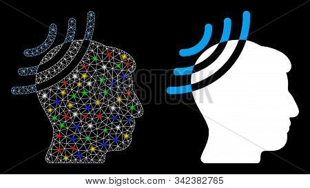 Bright Mesh Radio Reception Head Icon With Lightspot Effect. Abstract Illuminated Model Of Radio Rec
