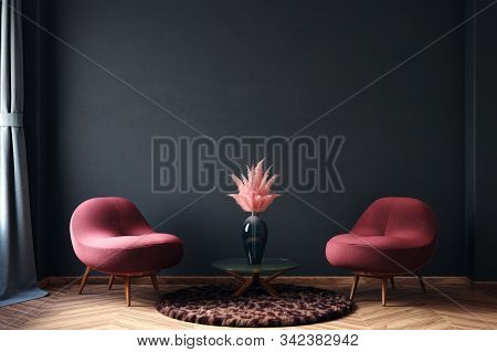 Home Interior, Luxury Modern Dark Living Room Interior, Black Empty Wall Mock Up, 3d Illustration