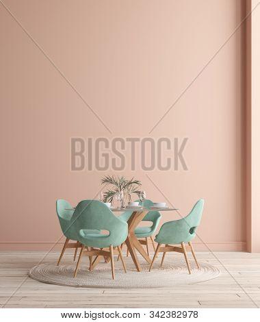 Wall, Poster Mock Up In Dining Room, Minimalist Interior, 3d Illustration