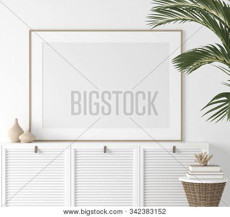 Poster Mock Up Closeup In White Room, 3d Illustration
