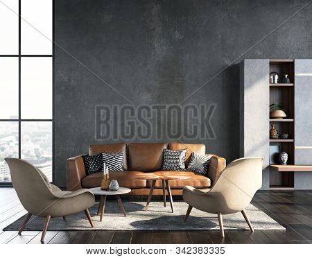 Living Room Interior In Loft, Industrial Style, 3d Illustration