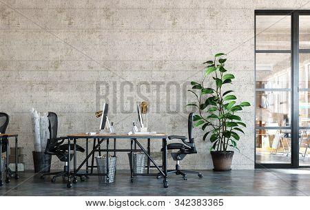 Office Interior In Loft, Industrial Style, 3d Illustration