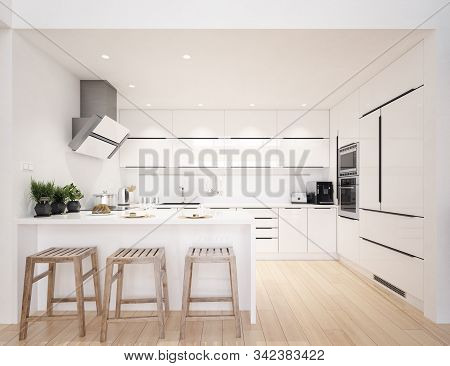 Scandinavian Modern Kitchen, Minimalist Interior Design, 3d Illustration