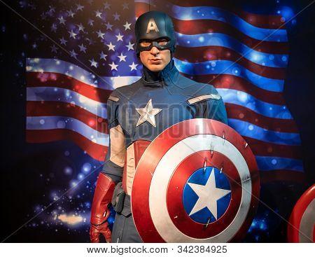 Bangkok, Thailand - November 29 2019: A Wax Statue Of Captain America Portrayed By Hollywood Actor C