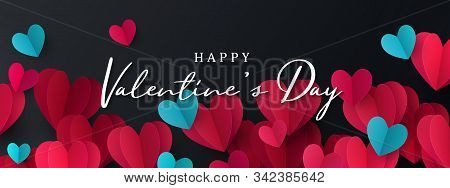 Happy Valentines Day Banner. Holiday Background Design With Border Frame Made Of Pink, Red And Blue