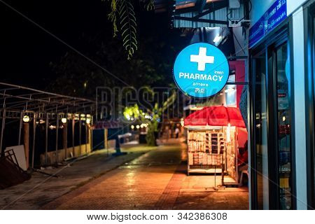 Phi Phi Island, Thailand - November 24 2019: A Pharmacy Or Drug Store In Phi Phi Island.