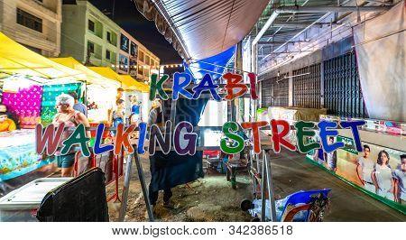 Krabi Town, Thailand - November 23 2019: Krabi Weekend Night Market In Krabi Town, Thailand.