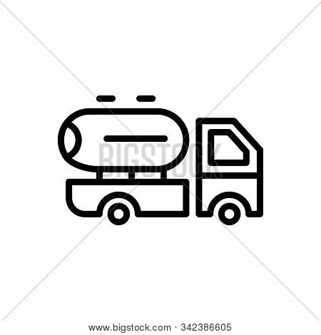 Black Line Icon For Supplier Oil Milk Transport Vehicle Supply Delivery Service Truck
