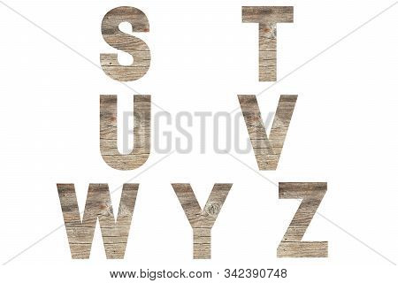 Font Wood Alphabet S, T, U, V, W Y, Z Isolated On White Background. Nature Concept