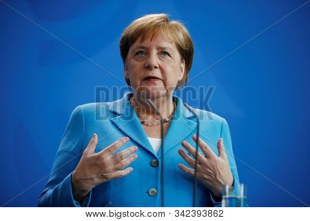 Berlin,germany,june 2019,germany Chancellor Angela Merkel In A Press Conference