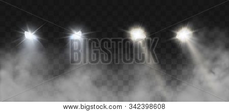 Car Headlights Shining On Road In Fog At Night. Vector Realistic Set Of Front Triangle Lamps Flares