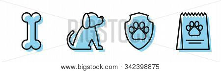 Set Line Animal Health Insurance, Dog Bone, Dog And Bag Of Food For Dog Icon. Vector