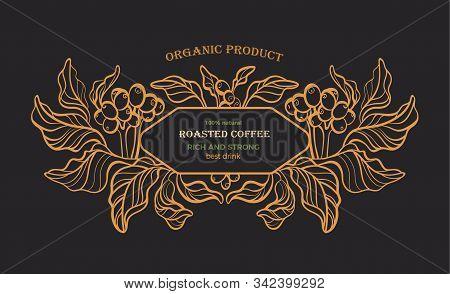 Coffee Emblem. Vector Vintage Pattern. Nature Tree, Art Line Branch, Leaves, Bean, Grain. Graphic Go