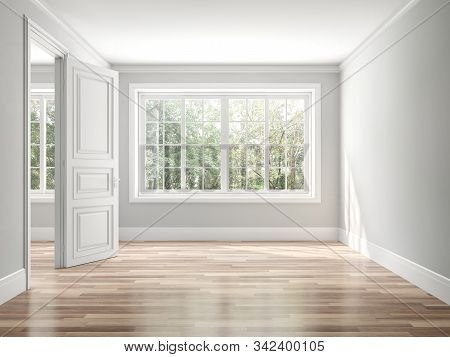 Empty Classical Style Room 3d Render,the Rooms Have Wooden Floors And Gray Walls ,decorate With Whit