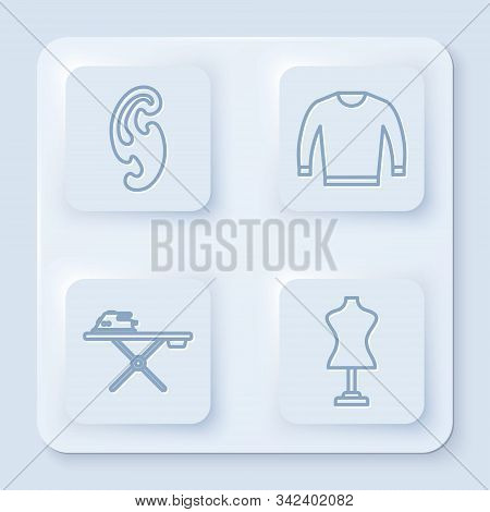 Set Line French Curves, Sweater, Electric Iron And Ironing Board And Mannequin. White Square Button.