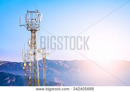 Tower With Mobile Operator Antennas  On The Background Sky, 5g, 4g, 3g, Mobile Technologies, New Gen