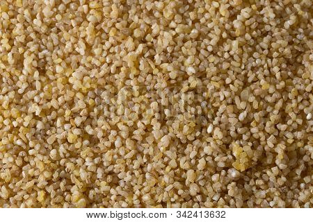 Corn Grits Groat Background. Top View, Closeup.