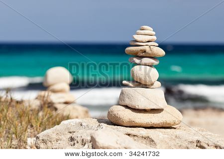 Balanced stones near the beach.