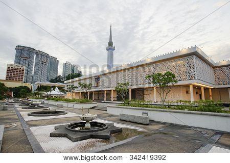 Kuala Lumpur, Malaysia - November 8, 2019: Masjid Negara The National Mosque Of Malaysia, Located In