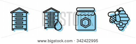 Set Line Jar Of Honey, Hive For Bees, Hive For Bees And Hive For Bees Icon. Vector