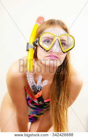 Woman Wearing Swimsuit With Snorkeling Mask Having Fun Studio Shot, Happy Joyful Girl Dreaming About