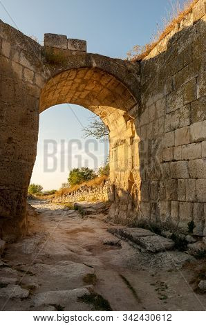 Orta Kapu Gates Of Fortification Wall In Chufut-kale, Medieval Cave Settlement Of Crimean Karaites,