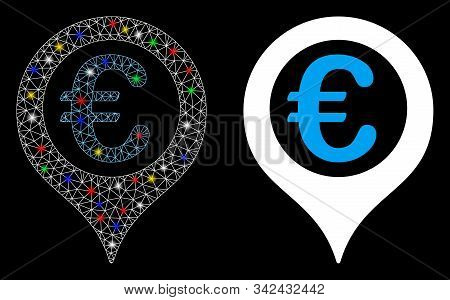 Glowing Mesh Euro Geotargeting Icon With Glitter Effect. Abstract Illuminated Model Of Euro Geotarge