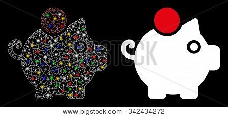 Bright Mesh Piggy Bank Icon With Glare Effect. Abstract Illuminated Model Of Piggy Bank. Shiny Wire
