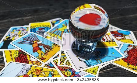 Reflection The Tarot Card Of The Three Of Swords Through The Magic Ball And Of The Tarot Cards . Mys