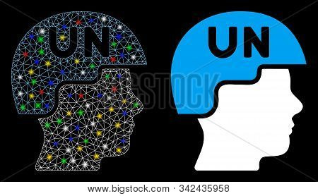 Glossy Mesh United Nations Soldier Helmet Icon With Lightspot Effect. Abstract Illuminated Model Of