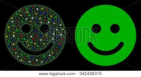 Glossy Mesh Glad Smile Icon With Glare Effect. Abstract Illuminated Model Of Glad Smile. Shiny Wire