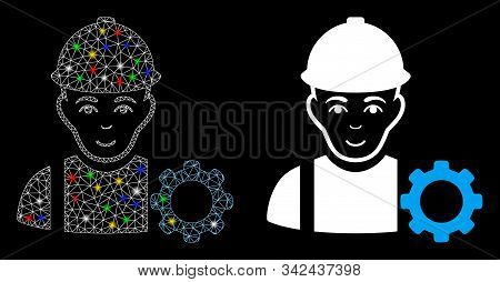 Glowing Mesh Repairman Icon With Lightspot Effect. Abstract Illuminated Model Of Repairman. Shiny Wi