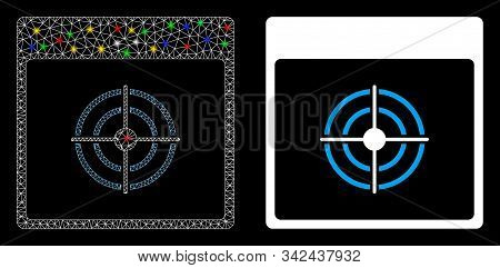 Glossy Mesh Bullseye Calendar Page Icon With Sparkle Effect. Abstract Illuminated Model Of Bullseye