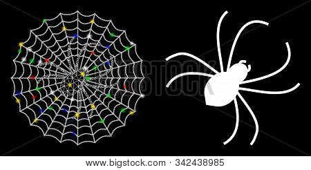 Flare Mesh Spider Net Icon With Lightspot Effect. Abstract Illuminated Model Of Spider Net. Shiny Wi