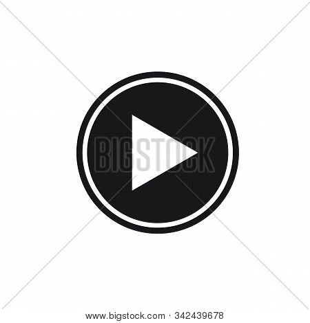 Play Button Icon On White Background. Play Button Icon. Set Of Black Isolated Vector Icon Play Butto